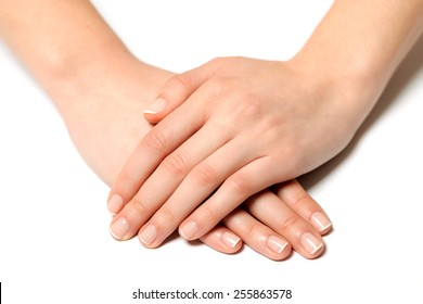 Fingernail woman hand with france manicure