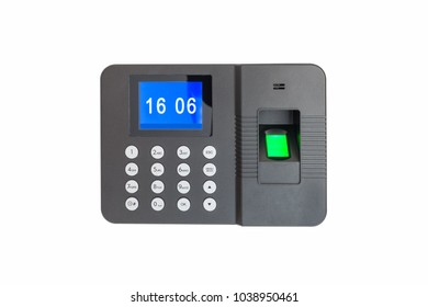 fingerprint attendance machine isolated on white with clipping path