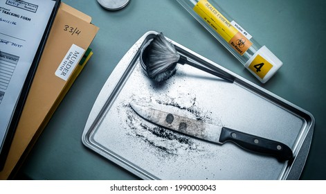 Fingerprint development on a knife involved in a homicide in a crime lab, conceptual image
