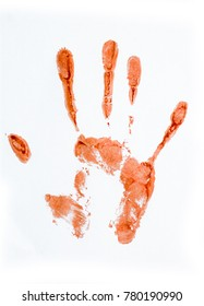 A fingerprint of the hand with fingers Droplets of blood staining spots on a white background, medecine, addiction, murder