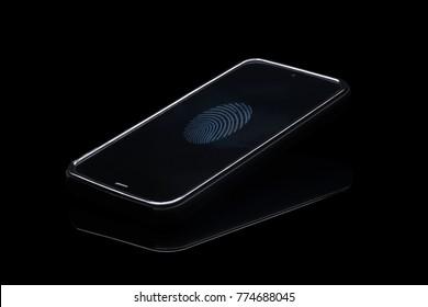 Fingerprint identification on cellphone. Smartphone isolated on blak background with fingerprint icon on screen.