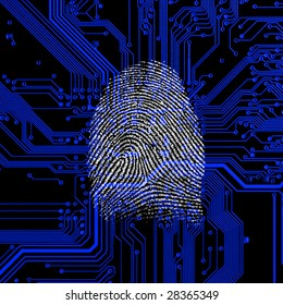 fingerprint on a blue circuit board