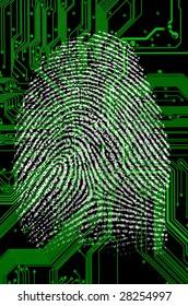 fingerprint on a green circuit board