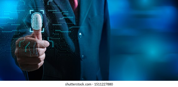 Fingerprint scan provides security access with biometrics identification.Businessman scan fingerprint biometric identity and approval.Business Technology Safety Internet Concept.