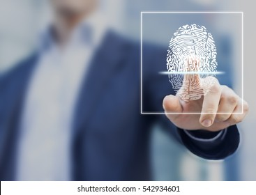 Fingerprint scan provides security access with biometrics identification, person touching screen with finger in background