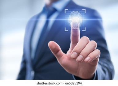 Fingerprint scan provides security access with biometrics identification. Business Technology Safety Internet Network Concept