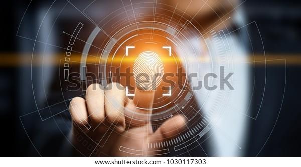 Die Fingerabdruck-Prüfung ermöglicht den Sicherheitszugriff mit biometrischer Identifikation. Business Technology Safety Internet Konzept.