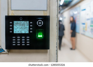fingerprint scanner on wall to record working time or enter security system.