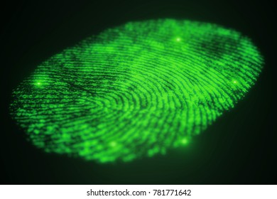 Fingerprint scanning for secure access, 3D rendering