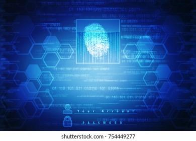 Fingerprint Scanning Technology Concept 2d Illustration