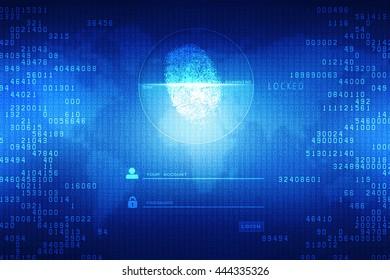 Fingerprint Scanning Technology Concept Illustration. Fingerprint Searching Software. Identity Check