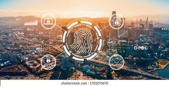 Fingerprint scanning theme with downtown San Francisco skyline buildings