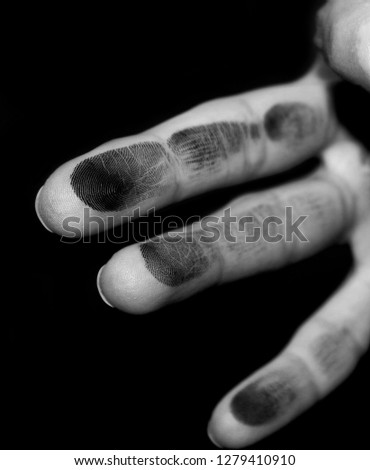 fingerprinting, isolated, black and white