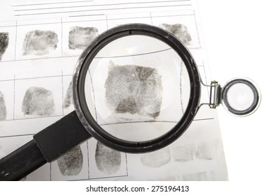 Fingerprints hands through a magnifier