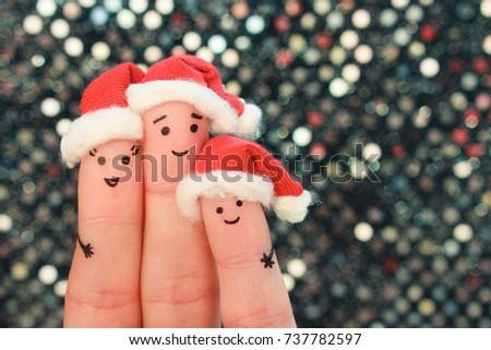 Fingers Art Family Celebrates Christmas Concept Stock Photo (Edit ...