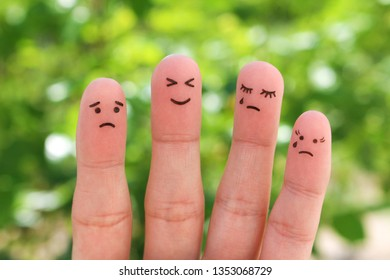 Fingers art of people. Pessimists and optimist.