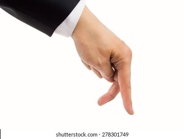 fingers of a businessman walking with a white background concept of going forward in the nogocios