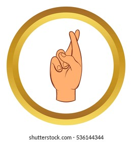 Fingers crossed  icon in golden circle, cartoon style isolated on white background