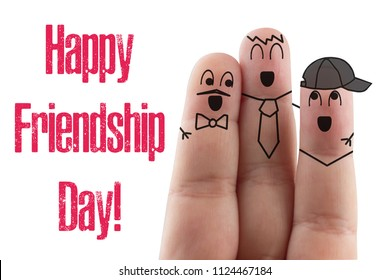 fingers Friend isolated white background. Happy international friendship day.
