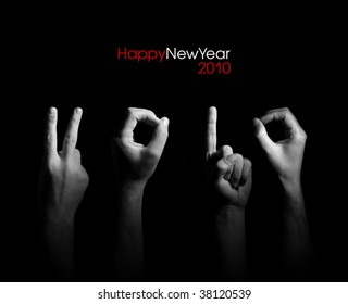 Fingers are shown numerals  in creative greeting card 2010 with New Year