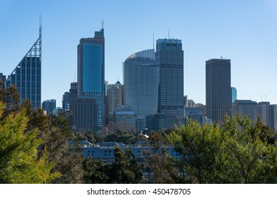 Fingers wharf with Sydney downtown skyline skyscrapers on sunny day