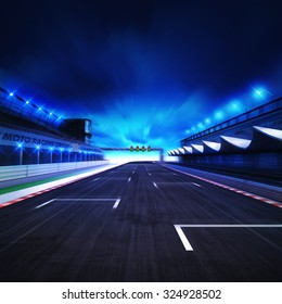 finish drive on the racetrack in motion blur with stadium and spotlights, racing sport digital background illustration
