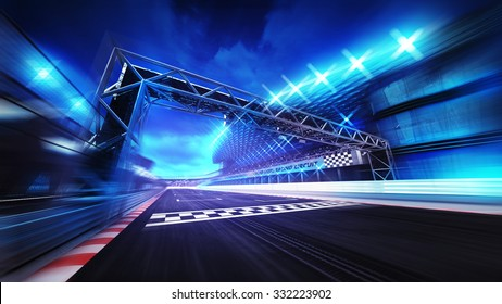 finish gate on racetrack stadium and spotlights in motion blur, racing sport digital background illustration