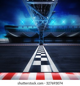 finish line gate on the racetrack in motion blur side view, racing sport digital background illustration