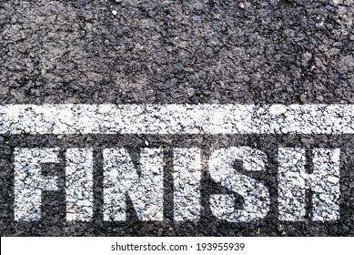 Finish line on asphalt