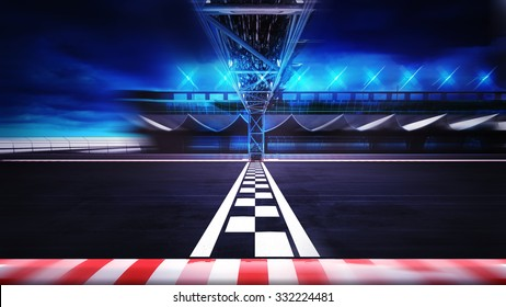 finish line on the racetrack in motion blur side view, racing sport digital background illustration