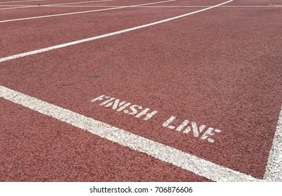 Finish line on running track