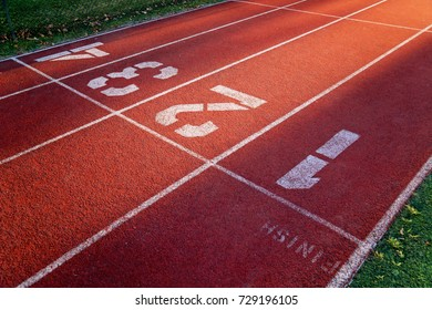 Finish line of the running track