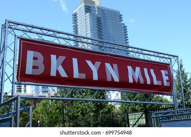 Finish Line Sign at the Brooklyn Mile Road Race on Kent Street at North 9th Street in Williamsburg, Brooklyn on Sunday August 20th, 2017