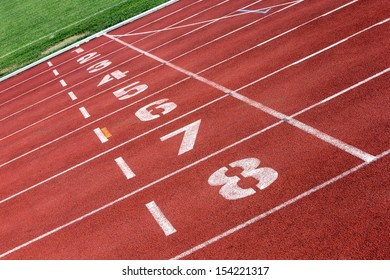 The finish line of a sports track.