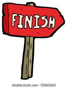 finish signpost cartoon