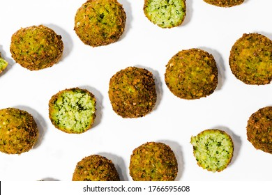 finished falafel balls on a light background. The national dish of Israel and Egypt. Fried chickpeas with spices. a vegetarian dish. pattern