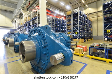 finished gearboxes for wind turbines in an industrial warehouse - Factory of modern mechanical engineering