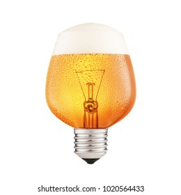 finished pouring beer into lightbulb against white background