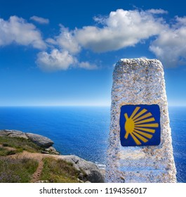 FINISTERRE, GALICIA, SPAIN - JUNE 4: Finisterre also Fisterra is the end of Saint James Way of Spain on June 4 2017. The Camino de Santiago shell logo is the symbol of pilgrimage.