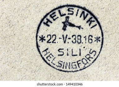 FINLAND - CIRCA 1938: Vintage cancellation air mail postmark from Helsinki on an old postal cover, circa 1938.