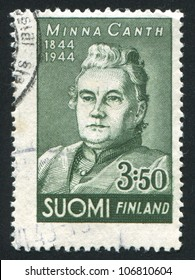 FINLAND - CIRCA 1944: stamp printed by Finland, shows Writer Minna Canth, circa 1944