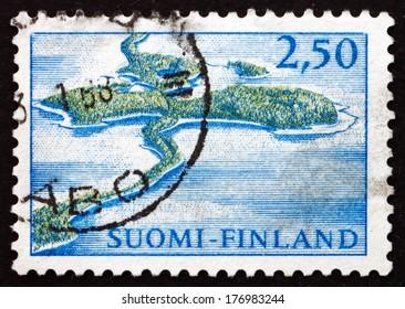 FINLAND - CIRCA 1967: a stamp printed in the Finland shows Aerial View of Punkaharju Ridge, circa 1967