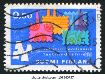 FINLAND - CIRCA 1970: stamp printed by Finland, shows Swatches in Shape of Factories, circa 1970