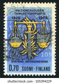 FINLAND - CIRCA 1975: stamp printed by Finland, shows Balance of Justice, Sword of Legality, circa 1975