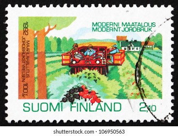 FINLAND - CIRCA 1992: a stamp printed in the Finland shows Currant Harvesting, Centenary of National Board of Agriculture, circa 1992