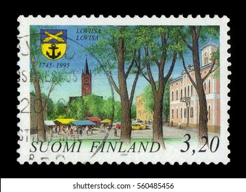 FINLAND - CIRCA 1995: a stamp printed in Finland shows Market Place with Church and City Hall of Loviisa, 250 years city of Loviisa, circa 1995