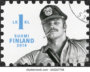 FINLAND - CIRCA 2014: A stamp printed in Finland shows drawing by Tom of Finland, circa 2014