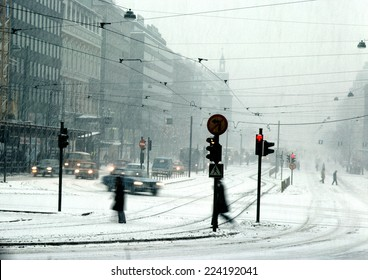 Finland, city street in snow