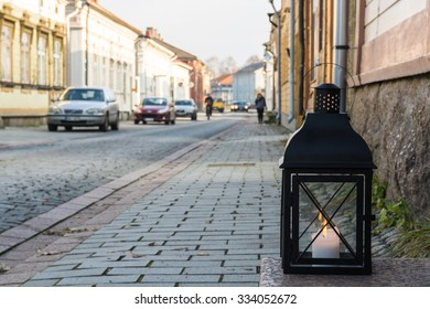 Finland. Cityscape with a lantern. Street historic Finnish city of Rauma.