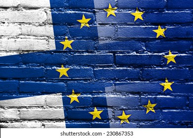 Finland and European Union Flag painted on brick wall